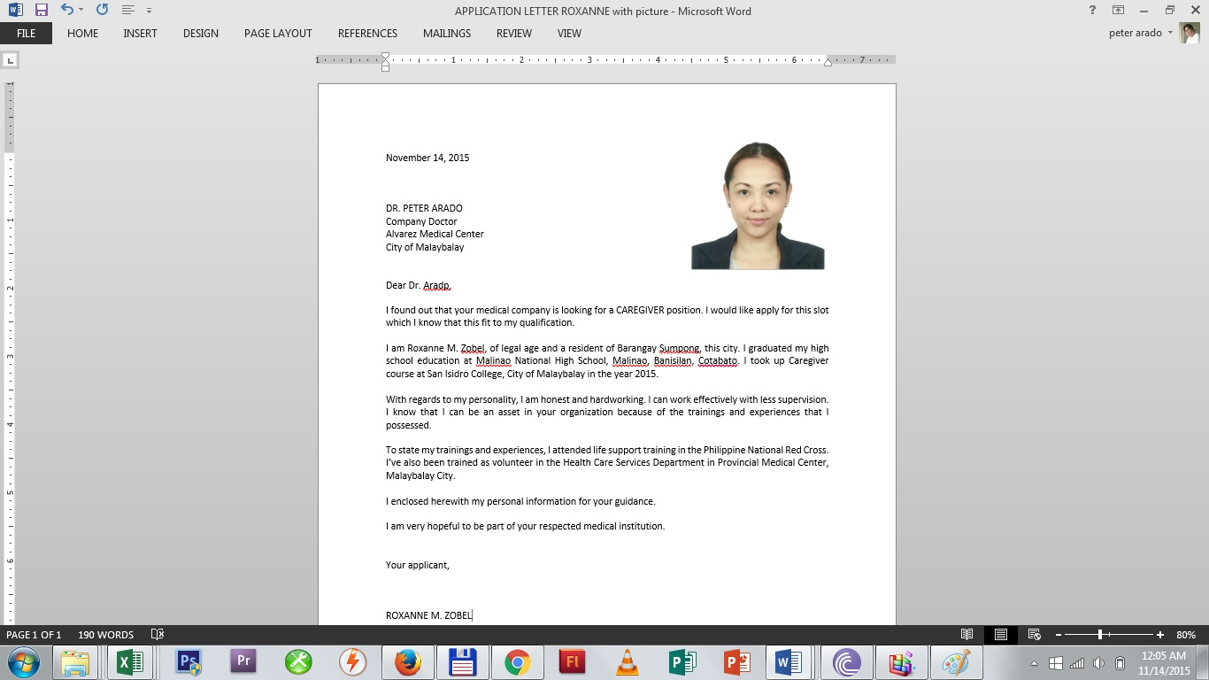 SAMPLE APPLICATION LETTER WITH 2X2 PICTURE U2013 B110 Merchandise, B110  Computer Tutorial U0026 Other Computer Related Services [Sumpong, Malaybalay  City, ...